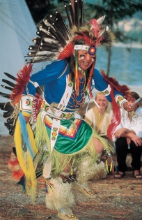 First Nations dancer in traditional regalia (Photographer: Unknown  Tourism BC. Credit: Thompson Okanagan. All Rights Reserved)